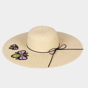 Double Honey Bee Patch Paper Straw Floppy Sun Hat